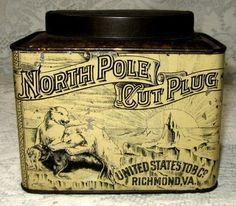 RARE Antique North Pole Cut Plug Tobacco Oval Top Tin Can Polar Bears Seal | eBay
