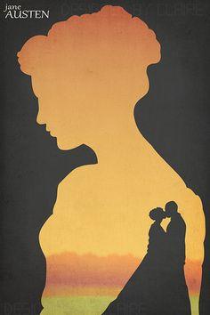 Classic Authors Art Print Jane Austen Silhouette Romance Geek Decor by GeekyPrintsandMore on etsy, Jane Eyre, Jane Austen Book Club, Jane Austen Novels, Pop Art, Becoming Jane, Nerd, Geek Decor, Pride And Prejudice, Stencil