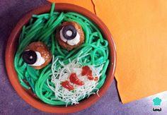 Receta de Espaguetis para Halloween #RecetasGratis #Halloween #RecetasDivertidas #RecetasparaHalloween #EspaguetisconAlbóndigas #RecetasparaNIños #MosntruodeEspaguetis