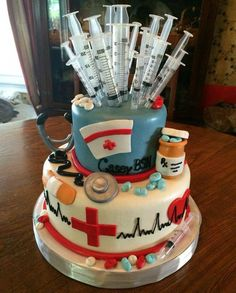 Nursing school graduation cake from Adrienne's in Jeffersonville, IN. I want this done for when I graduate nursing school! School Parties, Grad Parties, Decors Pate A Sucre, Doctor Cake, Doctor Party, Nurse Party, Med School, Nursing Students, Nursing Schools