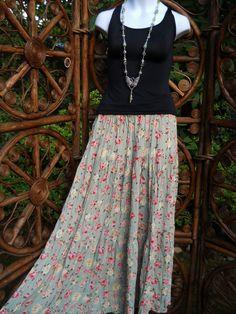 3 tier rose print sage broomstick skirt  medium by LamplightGifts, $20.00