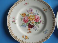 Vintage Plate Dresden Flowers Englands Bouquet Wedding Anniversary Birthday Collector Gift by ColorfullGifts on Etsy
