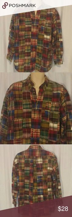 Orvis Plaid Patchwork Long Sleeve Shirt L Has light wash wear. Button Front. Long sleeve. Super comfy.   All clothes are in excellent used condition. No stains or holes.  Content: 100% cotton  Posh7 Orvis Shirts Casual Button Down Shirts