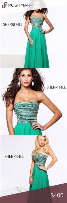 Sherri Hill Prom Dress Sherri Hill Prom dress, emerald green, size 4. Worn once this past April (4/26/16), excellent condition. No stains, no missing jewels. Small (1 in) tear on chiffon where it connects to the bodice on zipper in the back. Fitted top with built in strap on inside. Chiffon bottom. Sherri Hill Dresses Prom