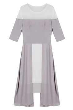 #romwe Mesh Splicing Light Grey Shift Dress