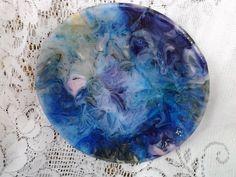 Fused Glass Dish Blue Purple Pink Decorative by AngelasArtGlass,