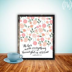 Bible verse art print printable wall decor scripture Christian verses for the wall decoration nursery bible verse, flowers INSTANT DOWNLOAD on Etsy, $5.00