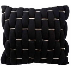 Vue Black Cersei 18-In. Square Fashion Accessory Pillow ($33) ❤ liked on Polyvore featuring home, home decor, throw pillows, black, black toss pillows, square throw pillows, black throw pillows, black home decor and black accent pillows