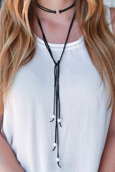 Leather double wrap choker #DIY #choker #womentriangle