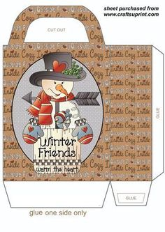 Winter friends snowman gift bag on Craftsuprint designed by Stephen Poore -
