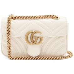 Gucci GG Marmont mini quilted-leather cross-body bag ($1,690) ❤ liked on Polyvore featuring bags, handbags, shoulder bags, mini shoulder bag, pink cross body purse, mini crossbody handbags, gucci handbags and gucci crossbody