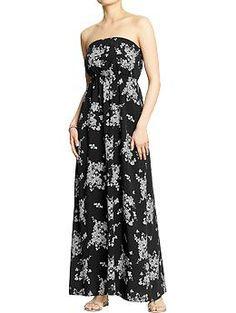 Old Navy Women's Printed Maxi-Tube Dresses in black print -- $39.94