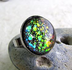 Rainbow Glitter Ring  Large Dome Cocktail Ring  by AshleySpatula, $14.00