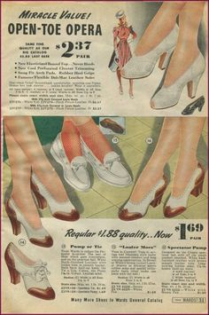 1940s 50s Shoes, Retro Heels, 1940s Outfits, 1940s Dresses, Montgomery Ward, Border Print, Pin Up Style, Novelty Print, Vintage Shoes