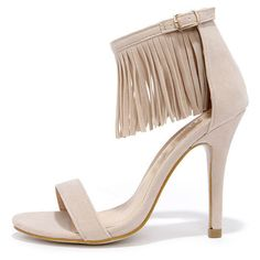 Chase & Chloe Fringe Forward Nude Fringe Heels ($31) ❤ liked on Polyvore featuring shoes, pumps, tan, ankle strap shoes, tan shoes, high heels stilettos, nude high heel pumps and nude high heel shoes