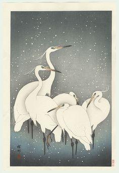 """Koson Ohara """"Shoson"""" - Groupe de hérons dans la neige 1928"""