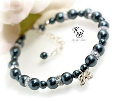 Choose from our huge selection of Swarovski Pearl colors for this beautiful, personalized bridesmaid bracelet.  It can double as your bridesmaids gifts too! | KyKy's Bridal, Handmade Bridal Jewelry, Wedding Jewelry #wedding #bride #bridesmaid #personalized #pretty