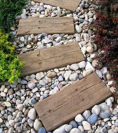 garden path ideas reclaimed railway sleepers gravel garden decorating ideas