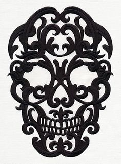 and elegant, this damask-style skull will look spookily sophisticated at any time of year.Dark and elegant, this damask-style skull will look spookily sophisticated at any time of year. Skull Silhouette, Sugar Skull Art, Sugar Skull Stencil, Sugar Skull Design, Sugar Skulls, Zealand Tattoo, Lace Tattoo, Damask Tattoo, Urban Threads
