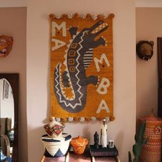 Trouva: Woven Kenyan Wall Hanging Rug Mamba Crocodile Hand Painted Pottery, Pottery Painting, Nairobi, Weaving Loom Diy, King Size Quilt, Home Workshop, Beautiful Wall, Vintage Rugs, Artisan
