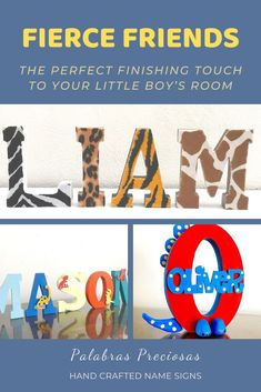 Finding the perfect décor for your little boy's room that conveys the love and emotion surrounding your little one is not easy. Chat with me today to create the unique design for your room name sign that reflects their bedroom style and personality. Let's turn your vision into beautiful wall name letters that will have everyone commenting and be the envy of their friends. #kidsroom #boysroom #dinodecor