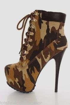 ALBA Jennifer Brown Tan Canvas Camouflage Platform High Heel Camo Ankle Boots