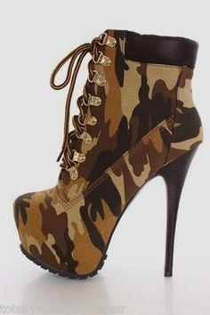 ALBA Jennifer Brown Tan Canvas Camouflage Platform High Heel Camo Ankle Boots