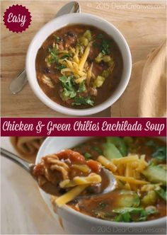 Chicken Enchilada Soup with green chilies is an easy soup recipe to make. Mexican inspired cuisine that has so much flavor. Best Soup Recipes, Chicken Soup Recipes, Lunch Recipes, Breakfast Recipes, Dinner Recipes, Healthy Recipes, Easy Recipes, Amazing Recipes, Green Chili Enchiladas