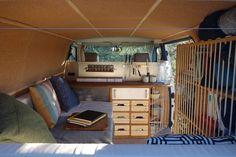 Instagram: @radius_ulna - Blog: www.radius-ulna.com - Cosy Camper van's interior design to travel thought Europe. Cork/wood/L shape Bed/ elastic rope/spice rack/organisation