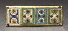 Plaque from a Reliquary Shrine, c. 1170 Germany, Rhine Valley, Cologne, Romanesque period, 12th century gilded copper; champlevé and cloisonné enamel, Overall: 2.70 x 7.20 cm