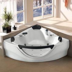 MayaBath Venezia Corner Acrylic Whirlpool Bathtub with TV Big Bathtub, Corner Bathtub, Bath Tub, Jetted Bathtub, Jacuzzi, Small Indoor Pool, Concrete Bathtub, Underwater Led Lights, Adjustable Shower Head