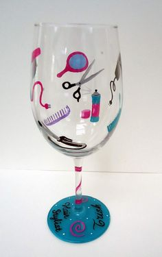 HAIR STYLIST GLASS - hand painted wine glass - hairstylist - hair dresser. $20.00, via Etsy.