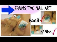 Color Turquesa uñas de los pies Tendencias con Rosas/Spring design Roses toe nail art - YouTube