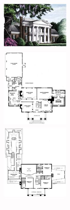 Southern Style House Plan Number 86283 with 4 Bed, 5 Bath, 3 Car Garage Plantation House Plan 86283 Sims House Plans, New House Plans, Dream House Plans, House Floor Plans, My Dream Home, Colonial House Plans, Dream Homes, Future House, Southern House Plans