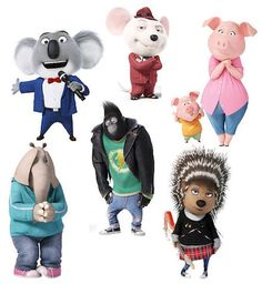 Sing freestanding Characters, Party Prop, Cut-outs, kids characters, sing props Sing Movie 2016, Sing 2016, Sing Movie Characters, Cartoon Characters, Kid Character, Character Design, Sing Cake, Disney Pixar, Animation Movies
