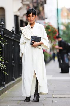 London Fashion Week SS17 Street Style: Day 4 VICTORIA ADAMSON Jeannie Lee wears Osman dress, Comme des Garçon bag, Balenciaga boots.