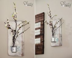 DIY Vase on the Wall, this but with cotton blossoms
