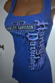 86c104701f30e NWT Harley Davidson Royal Blue  Ruin  Ribbed Racerback Tank Top Shirt