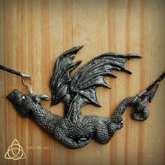 Gray dragon. Necklace.Silver dragon.Polymer clay.Sparkling.Fantasy.Magical.Mythical creature.One of a kind.Mystical Gray dragon pendant.