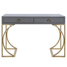 VANESSA GRY - GRAY LACQUER TWO DRAWER DESK WITH BRASS BASE & HARDWARE.