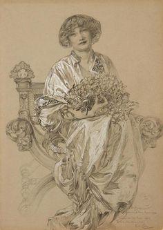 Portrait of Madame Deschamps (1903)  Alfons Mucha