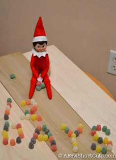 Elf on the Shelf Idea: Candy Messages Christmas Holidays, Christmas Stuff, Happy Holidays, Candy Messages, Angry Elf, Days Till Christmas, Buddy The Elf, Happy B Day, Shelf Ideas