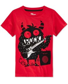 Epic Threads adds some real thrills to his look with a cool graphic-print T-shirt in a vibrant hue. Cotton/polyester Machine washable Imported Crew neck Short sleeves Graphic print at fro Baby Shirts, Boys T Shirts, Kids Pjs, Kids Fashion Boy, Winter Kids, Kids Wear, Graphic Prints, Little Boys, Boy Outfits