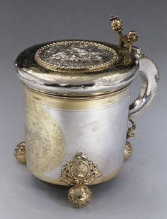 Tankard, ca. 1700 By Johann Berend (Livonian, master 1696, died 1704) Silver, partly gilt; 9 1/2 x 9 15/16 x 7 3/8 in. (24.13 x 25.24 x 18.73 cm) The Collection of Giovanni P. Morosini, presented by his daughter Giulia, 1932 (32.75.84)