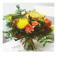 bukiet kapuściany. ogrodowo-warzywny. żółtobarwna jesień: z ostem, goździkiem i miechunką