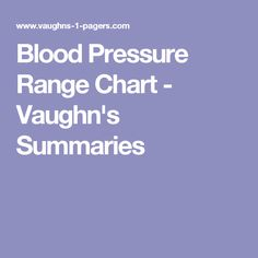 Blood Pressure Range Chart - Vaughn's Summaries