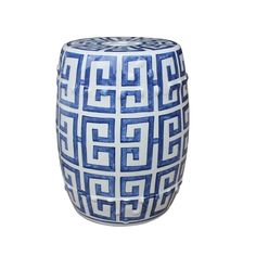 Blue and White Greek Key Porcelain Garden Stool from The Well Appointed House Greek Bedroom, Greek Decor, Rattan Stool, Swivel Chair, Ceramic Garden Stools, Egg Designs, Key Design, Greek Key, Luxury Home Decor