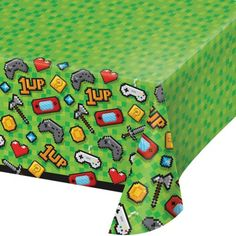 Creative Converting Green Video Game Party Plastic Tablecloth - Set of Three Video Game Party, Party Kit, Party Packs, Plastic Table Covers, Plastic Tablecloth, Game Themes, Party Themes, Party Ideas, Bautizo Diy