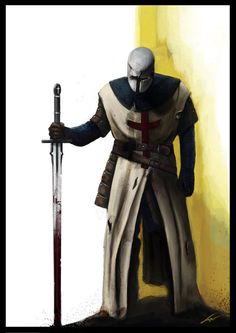 An old drawing of a Templar standing guard before the Citadel of David in Jerusalem, just now given a splash of digital colour. Original: