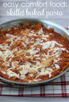 Winter is the perfect season for comfort food—make this warm skillet baked pasta and enjoy the easily reheated leftovers later in the week. Pasta Recipes, Beef Recipes, Dinner Recipes, Recipies, Dinner Dishes, Pasta Dishes, Pasta Food, Soul Food Kitchen, Sausage Pasta Bake